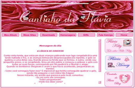Vs. 01 Site/blog Cantinho da Flávia - Janeiro/2003